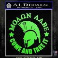 Molon Labe Spartan CR5 Decal Sticker Lime Green Vinyl 120x120
