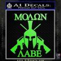 Molon Labe Spartan Cross Rifles Decal Sticker Lime Green Vinyl 120x120