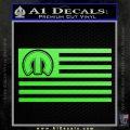 Mopar American Flag Decal Sticker Lime Green Vinyl 120x120