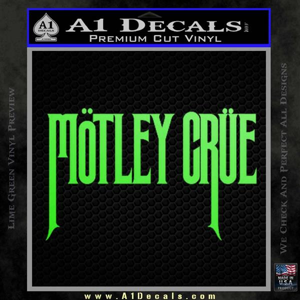 Motley crue band vinyl decal sticker lime green vinyl 120x120