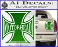 MotorHead Iron Cross Decal Sticker Green Vinyl 120x97