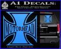 MotorHead Iron Cross Decal Sticker Light Blue Vinyl 120x97