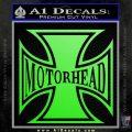 MotorHead Iron Cross Decal Sticker Lime Green Vinyl 120x120