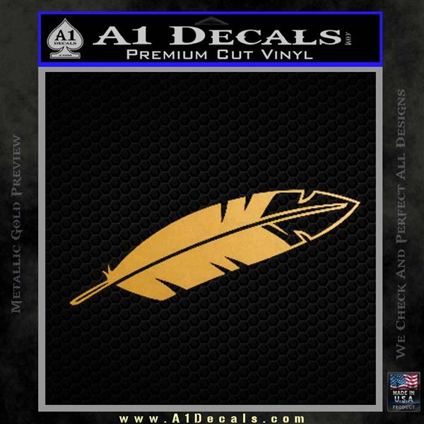 NATIVE AMERICAN EAGLE FEATHER VINYL DECAL STICKER Metallic Gold Vinyl