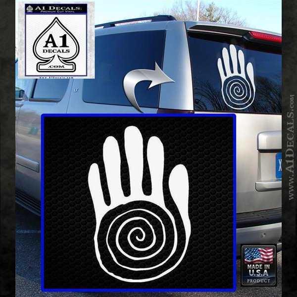 NATIVE AMERICAN SACRED HAND SYMBOL VINYL DECAL STICKER White Emblem