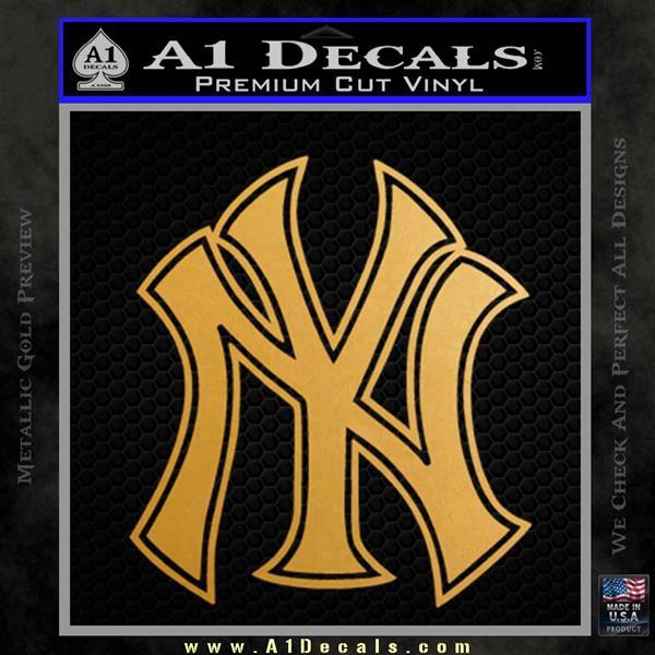 New York Yankees Logo Decal Sticker Metallic Gold Vinyl