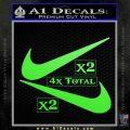 Nike Swoosh 4pk Decal Sticker DN Lime Green Vinyl 120x120