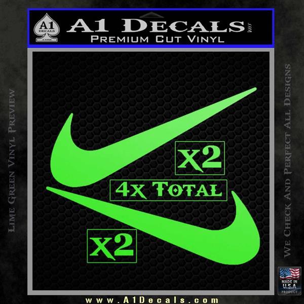 Nike Swoosh 4pk Decal Sticker DN Lime Green Vinyl