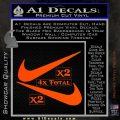 Nike Swoosh 4pk Decal Sticker DN Orange Vinyl Emblem 120x120