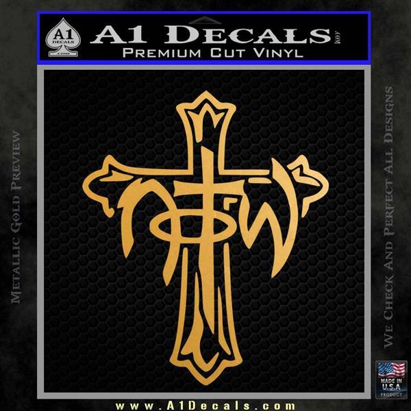 Not of This World Cross NOTW Decal Sticker Metallic Gold Vinyl Vinyl