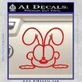 Odie Peeking Decal Sticker Garfield Red Vinyl 120x120
