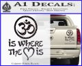 Om Is Where The Heart Is Decal Sticker Carbon Fiber Black 120x97