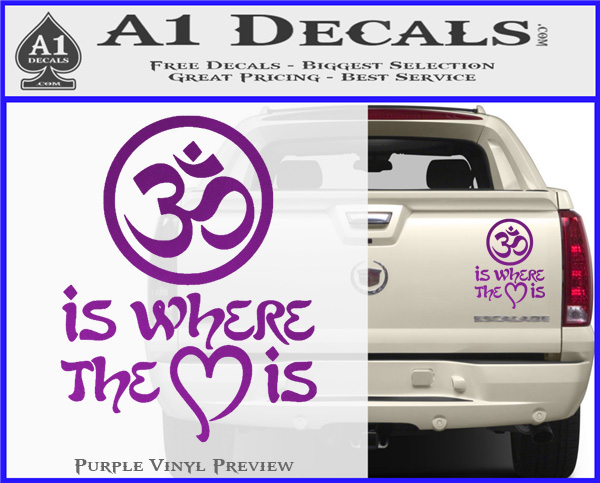 Om Is Where The Heart Is Decal Sticker Purple Vinyl