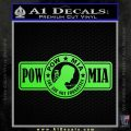 POW MIA DB Decal Sticker Lime Green Vinyl 120x120