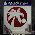 Palm Tree Moon CR Decal Sticker Dark Red Vinyl 120x120