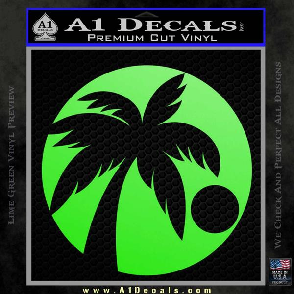 Palm Tree Moon CR Decal Sticker Lime Green Vinyl