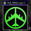 Peace Bomber B 52 Decal Sticker Lime Green Vinyl 120x120
