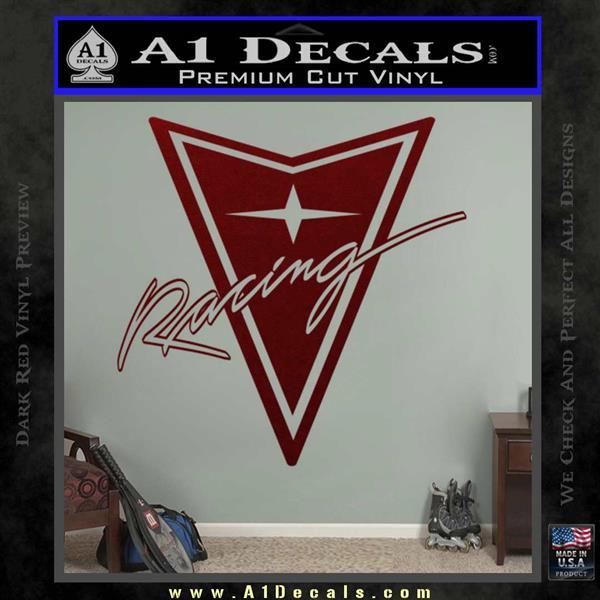 Pontiac Racing Decal Sticker DRT Dark Red Vinyl