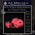 SNOOPY WAVING THE PEANUTS VINYL DECAL STICKER Pink Vinyl Emblem 120x120