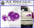 SNOOPY WAVING THE PEANUTS VINYL DECAL STICKER Purple Vinyl 120x97