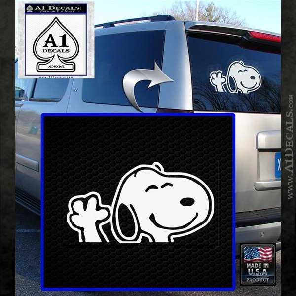 SNOOPY WAVING THE PEANUTS VINYL DECAL STICKER White Emblem