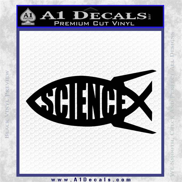 Science Jesus Fish Decal Sticker Black Logo Emblem