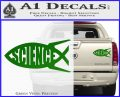 Science Jesus Fish Decal Sticker Green Vinyl 120x97