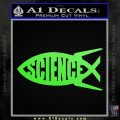 Science Jesus Fish Decal Sticker Lime Green Vinyl 120x120
