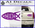 Science Jesus Fish Decal Sticker Purple Vinyl 120x97