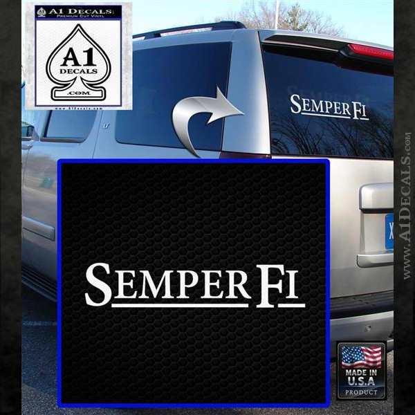 Semper Fi TXT Decal Sticker White Emblem