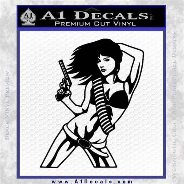 Sexy Gun Girl Revolver Decal Sticker Black Logo Emblem