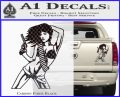 Sexy Gun Girl Revolver Decal Sticker Carbon Fiber Black 120x97