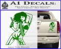 Sexy Gun Girl Revolver Decal Sticker Green Vinyl 120x97