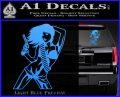 Sexy Gun Girl Revolver Decal Sticker Light Blue Vinyl 120x97