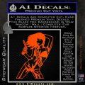 Sexy Gun Girl Revolver Decal Sticker Orange Vinyl Emblem 120x120
