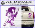 Sexy Gun Girl Revolver Decal Sticker Purple Vinyl 120x97