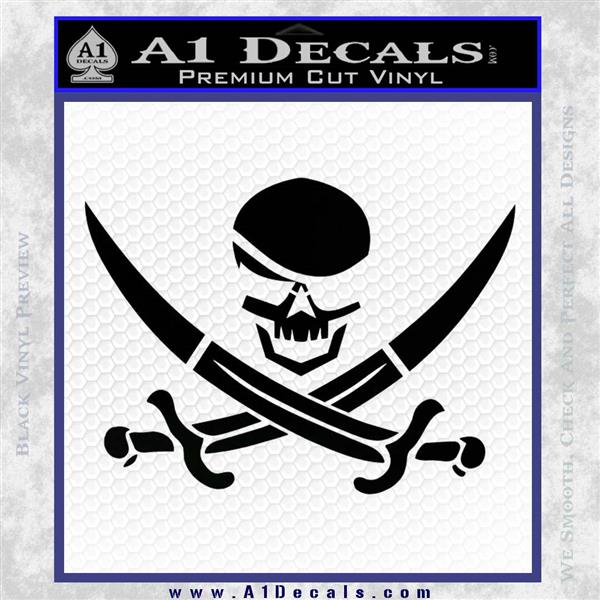 Skull and Cross Bones Decal Sticker Black Logo Emblem