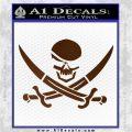 Skull and Cross Bones Decal Sticker Brown Vinyl 120x120