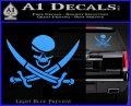 Skull and Cross Bones Decal Sticker Light Blue Vinyl 120x97