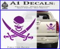 Skull and Cross Bones Decal Sticker Purple Vinyl 120x97