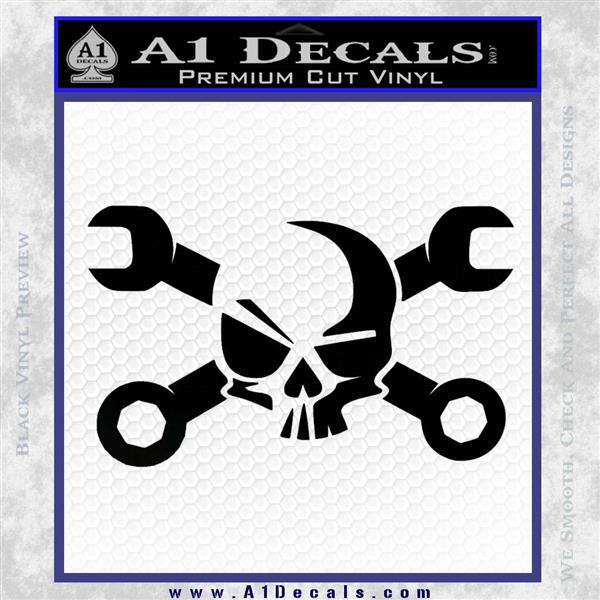 Skull and Wrenches D3 Decal Sticker Crossbones Black Logo Emblem
