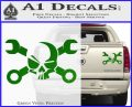Skull and Wrenches D3 Decal Sticker Crossbones Green Vinyl 120x97