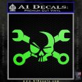 Skull and Wrenches D3 Decal Sticker Crossbones Lime Green Vinyl 120x120