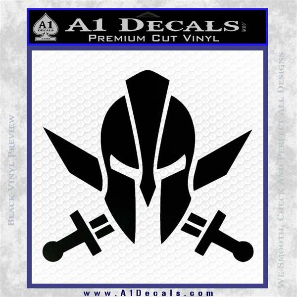 Spartan Crossed Swords D9 Decal Sticker Black Logo Emblem