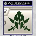 Spartan Crossed Swords D9 Decal Sticker Dark Green Vinyl 120x120