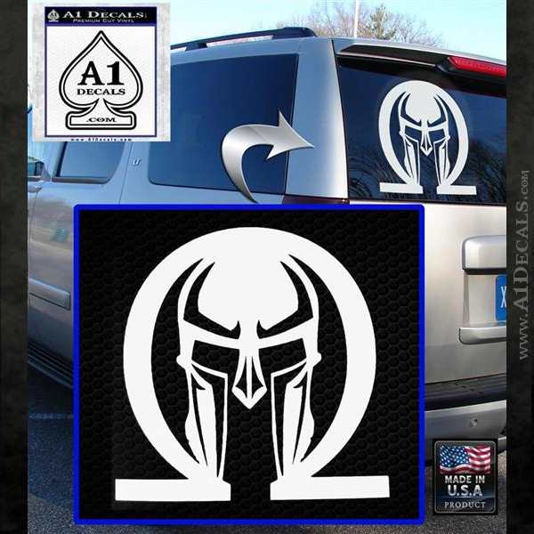 Spartan Omega Helmet Decal Sticker White Emblem
