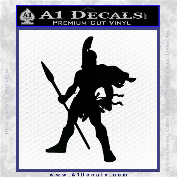 Spartan Warrior Spear Decal Sticker Black Logo Emblem