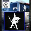 Spartan Warrior Spear Decal Sticker White Emblem 120x120