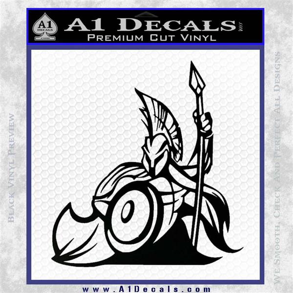 Spartan Warrior Stance Decal Sticker Black Logo Emblem