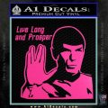 Spock Decal Sticker LLAP Decal Sticker Hot Pink Vinyl 120x120